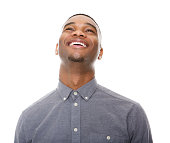 istock Black man laughing and looking up 521072353