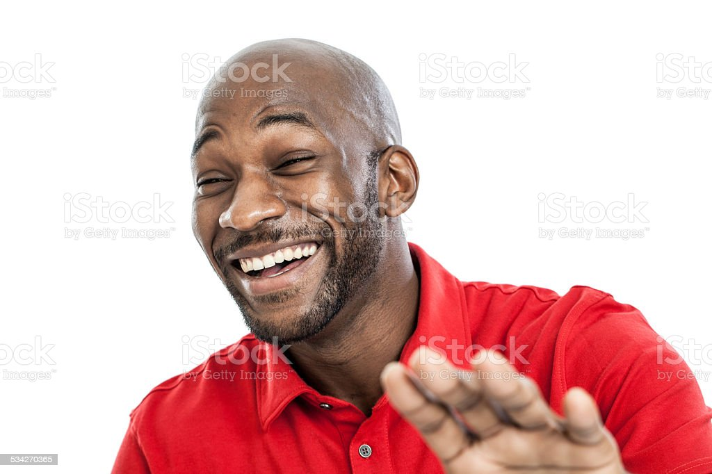Black man laughing portrait stock photo