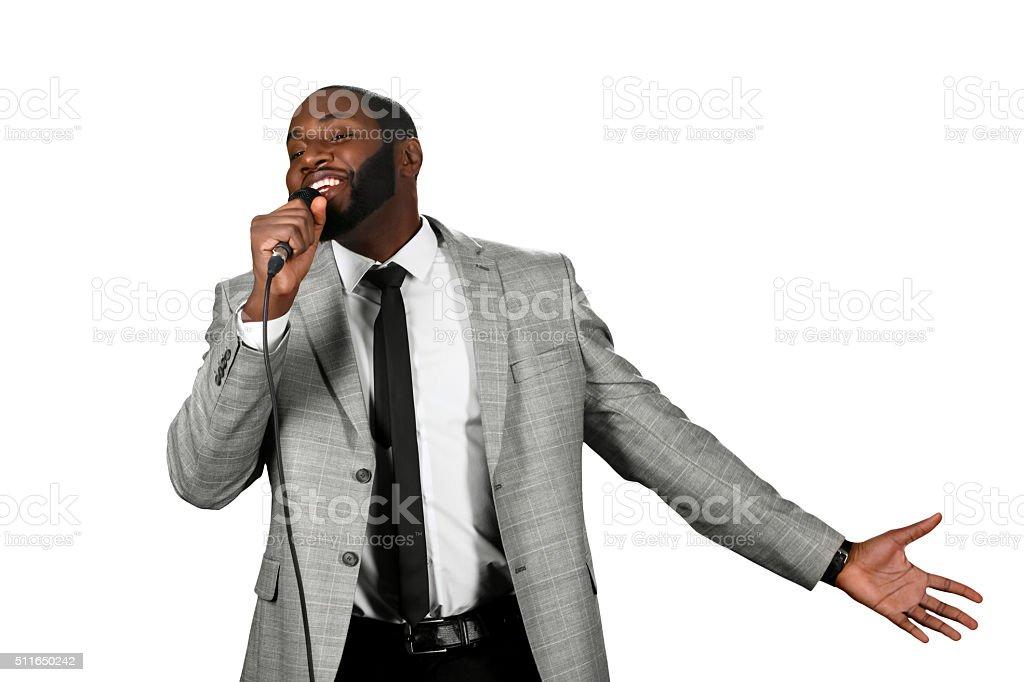 Black man singing stock photo