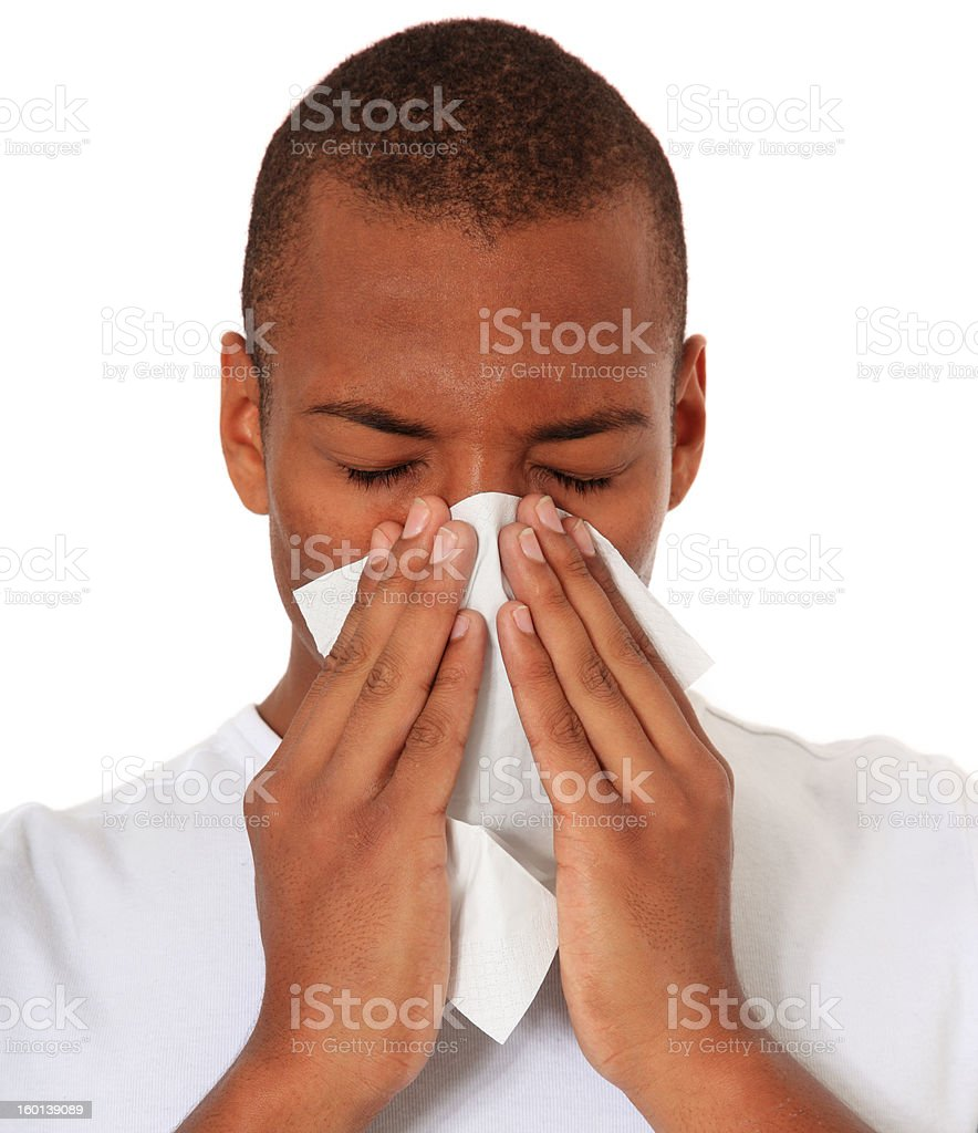 Black man using tissue royalty-free stock photo