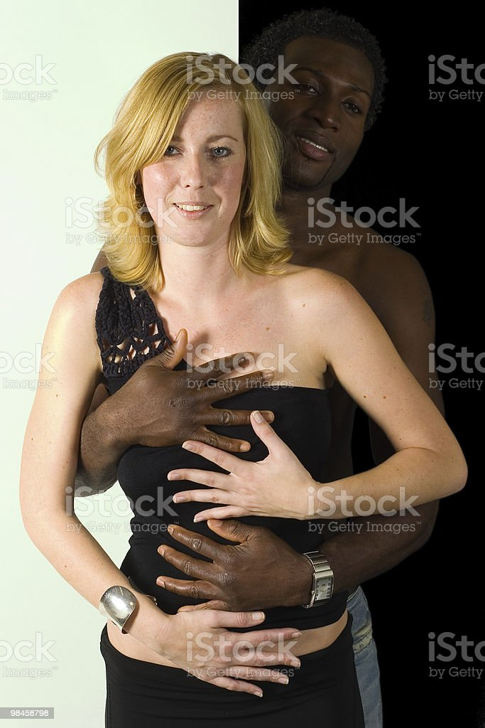 Black man, white girl united colors royalty-free stock photo