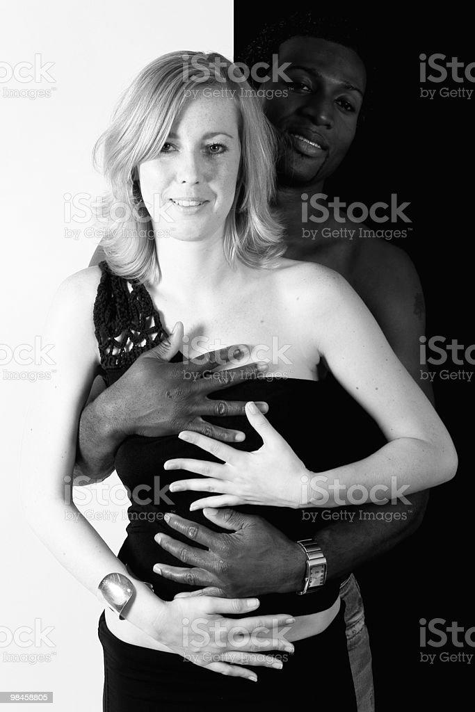 Black man, white girl united colors royalty-free stock photo