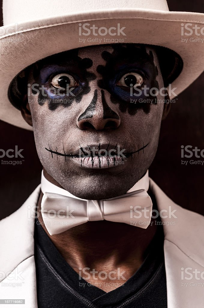Black man with Sugar Skull makeup on his face (II) royalty-free stock photo