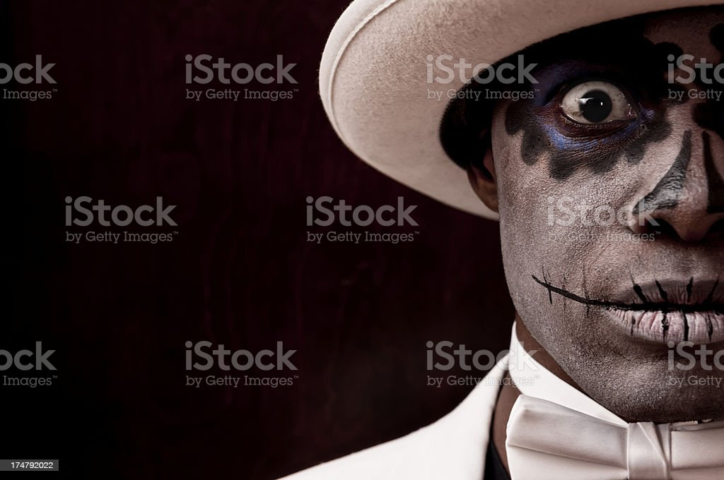 Black man with Sugar Skull makeup on his face (III) stock photo
