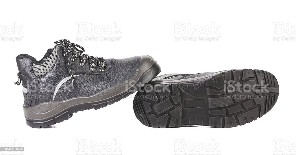 Black man's boots with gray bar. royalty-free stock photo