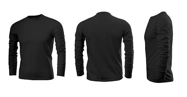 Black man's T-shirt with long sleeves Black man's T-shirt with long sleeves with rear and side view on a white background long sleeved stock pictures, royalty-free photos & images