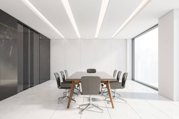 Black marble and white conference room interior stock photo