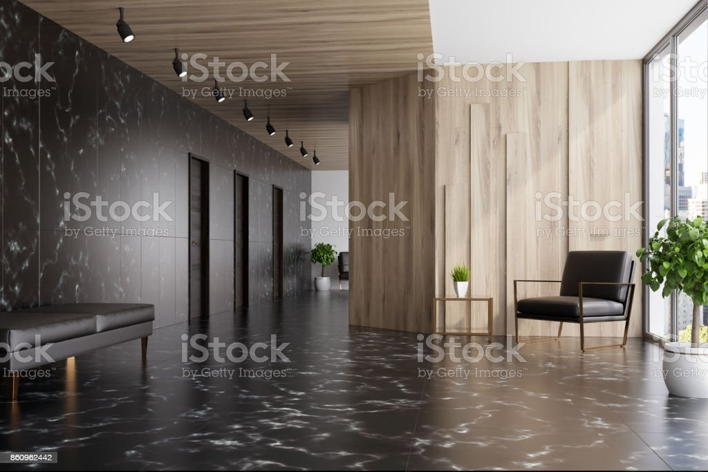 Schwarzer Marmor und Holz Aufzug Hall, Sessel – Foto