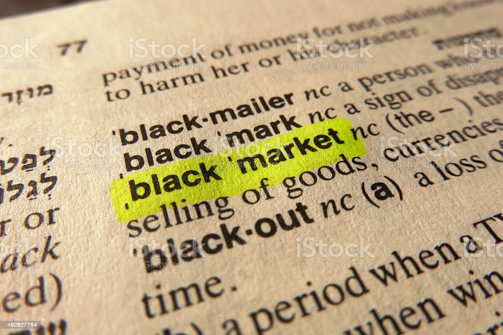 Black Market-  dictionary definition stock photo