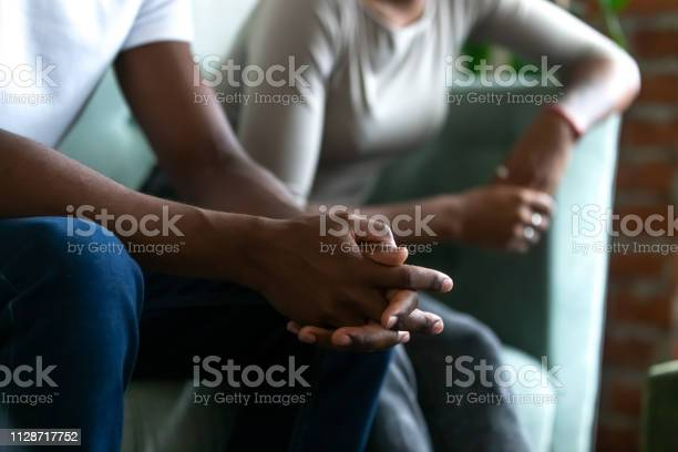 Black Married Couple Spouses Quarrelled Close Up Male Hands Stock Photo - Download Image Now