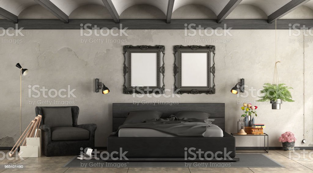 Black master bedroom zbiór zdjęć royalty-free