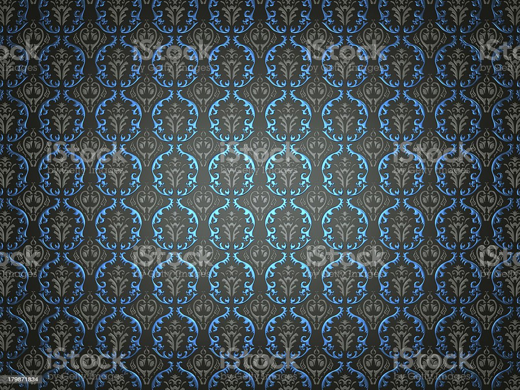 Black material with blue victorian ornament royalty-free stock photo