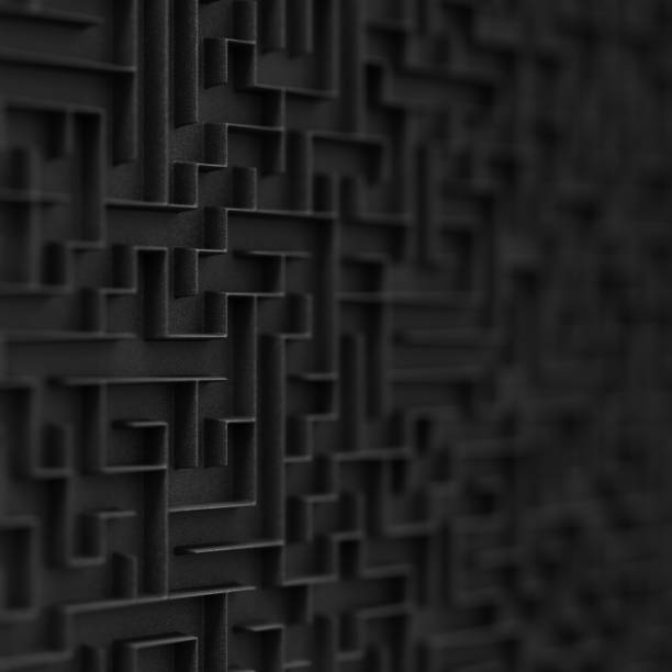 Black maze background with Depth of Field. stock photo