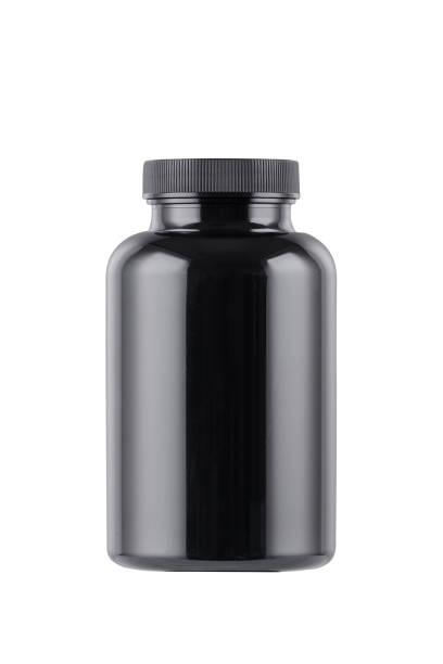 schwarze Medizin Flasche Mockup isoliert auf weiß – Foto