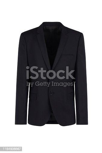 Male blazer on isolated background, black men jacket