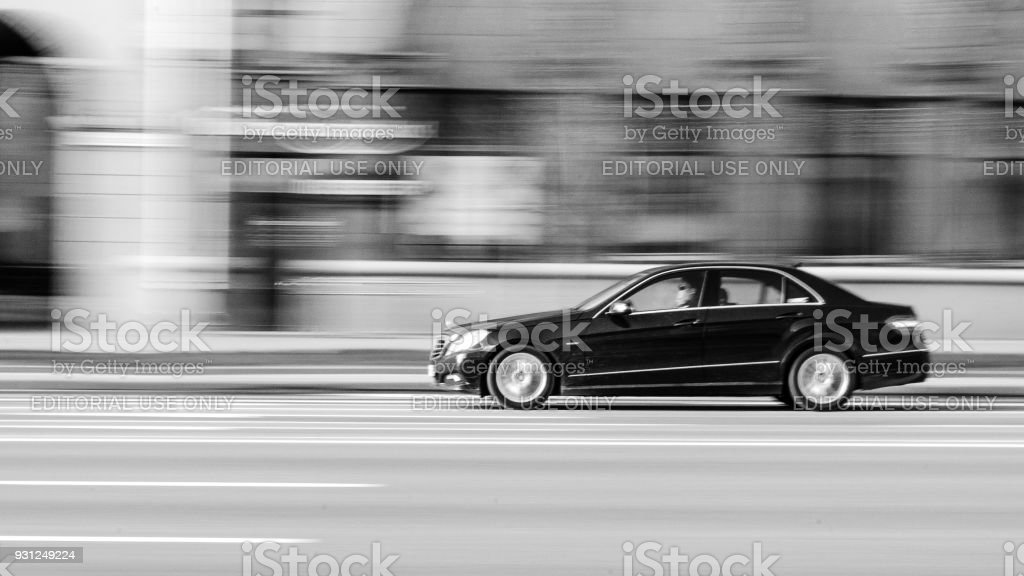 Black Mersedes-Benz in Motion stock photo