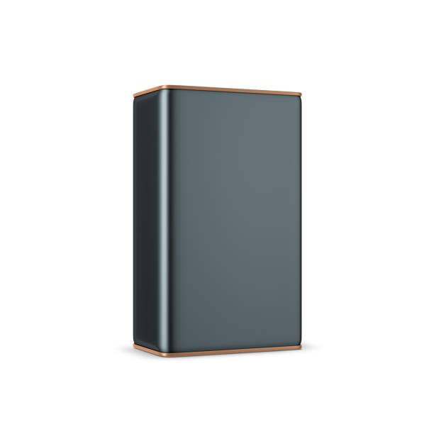 schwarzen metalldose leeren platz kann mock-up für öl. verpackungen für tee und kaffee - aluminiumkiste stock-fotos und bilder