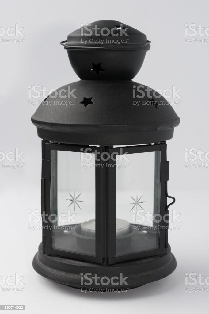 Black Metal Candle Lantern on White Background Front View stock photo