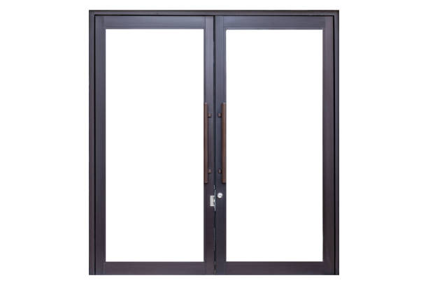Black metal door frame isolated on white background stock photo