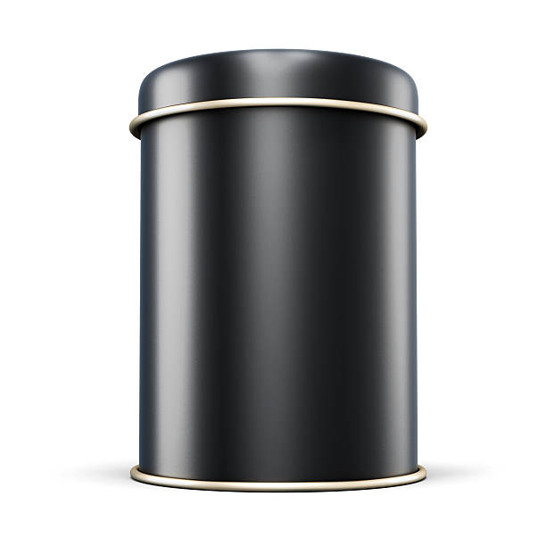 Black metal jar for tea isolated on white background stock photo