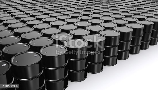 Black Metal Oil Barrels on White Background, Industrial Concept.