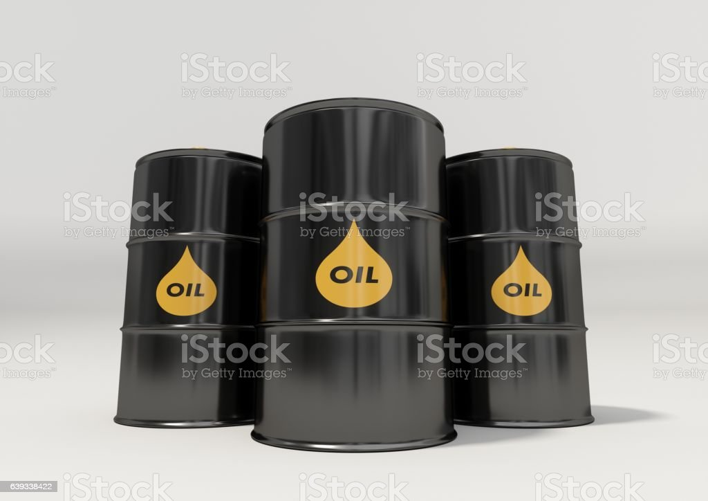 Black metal oil barrels on white background stock photo