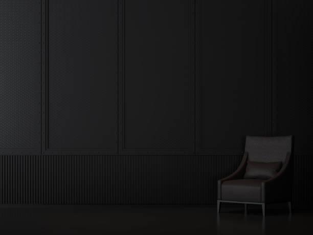 Interior sala de metal negro con estilo industrial 3d render - foto de stock