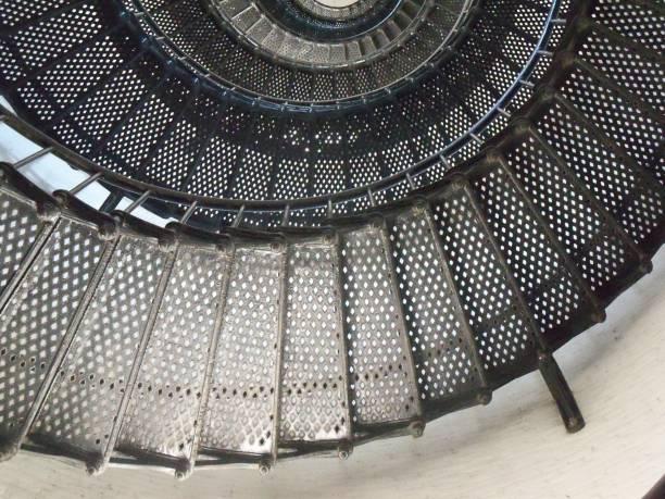 Black metal spiral Stairs stock photo