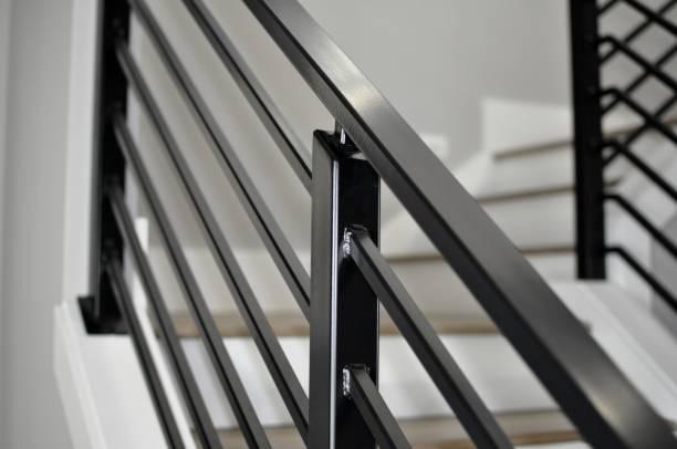 black metal stairway railing - kurjanphoto stock pictures, royalty-free photos & images