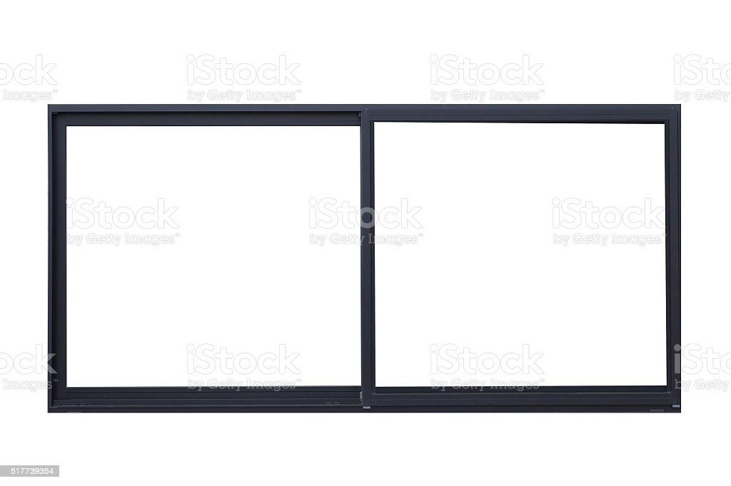 Black metal window frame isolated on white background stock photo
