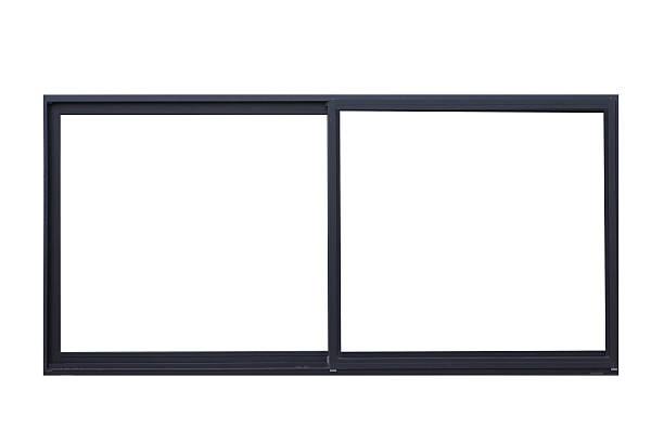 Black metal window frame isolated on white background stock photo