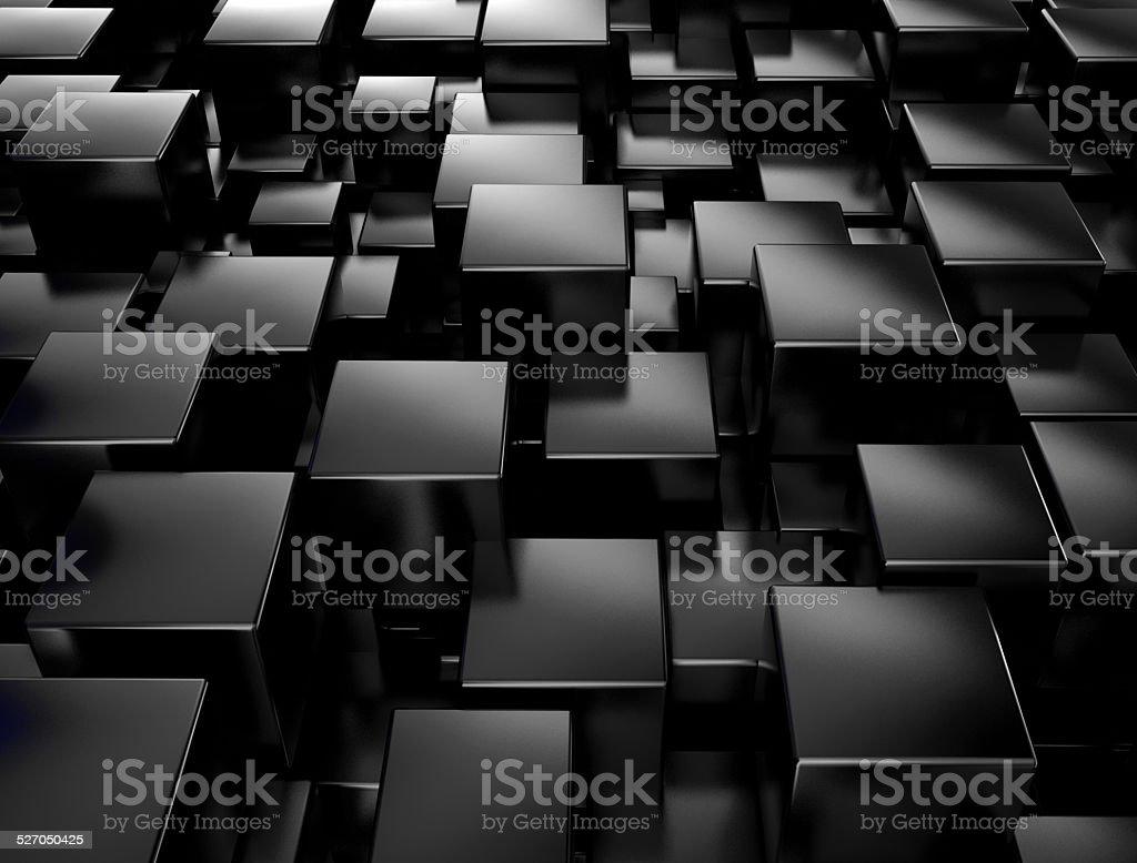 Black metallic 3d cubes stock photo