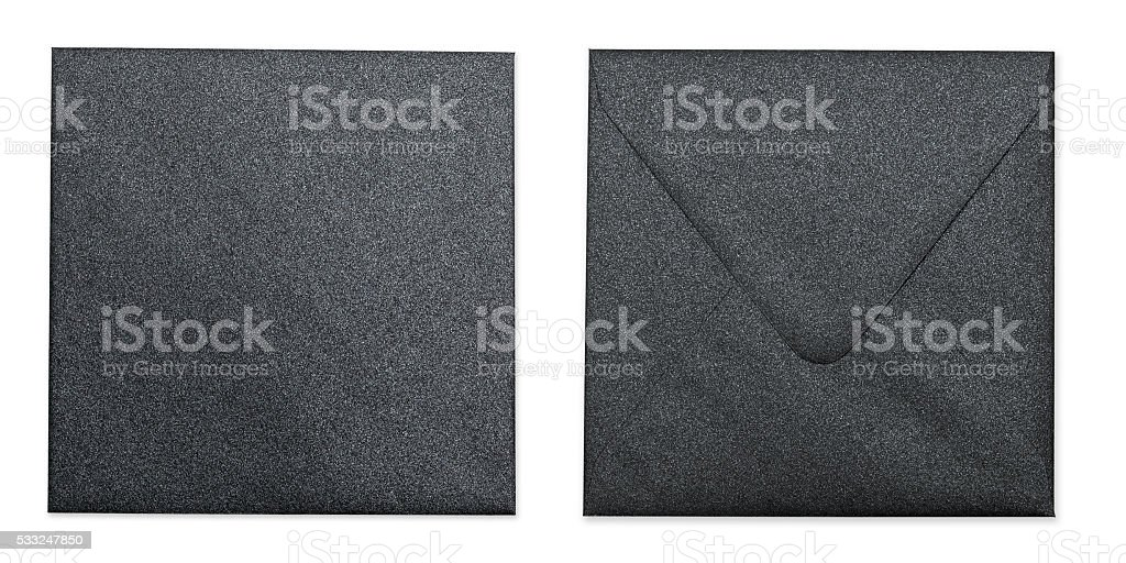 Black Metallic Envelope With Clipping Path stock photo