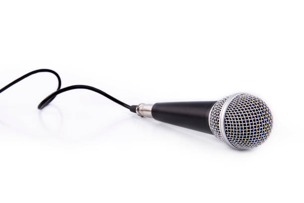 Black Microphone isolated on white background stock photo