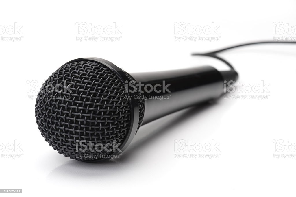 Black Microphone on White stock photo