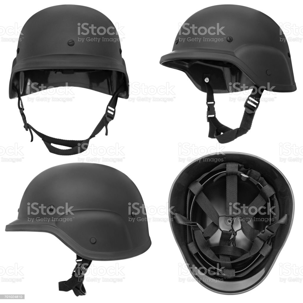 Black military helmet stock photo
