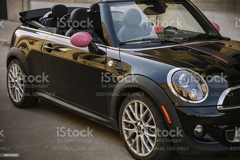 Black Mini Convertible in spring time stock photo