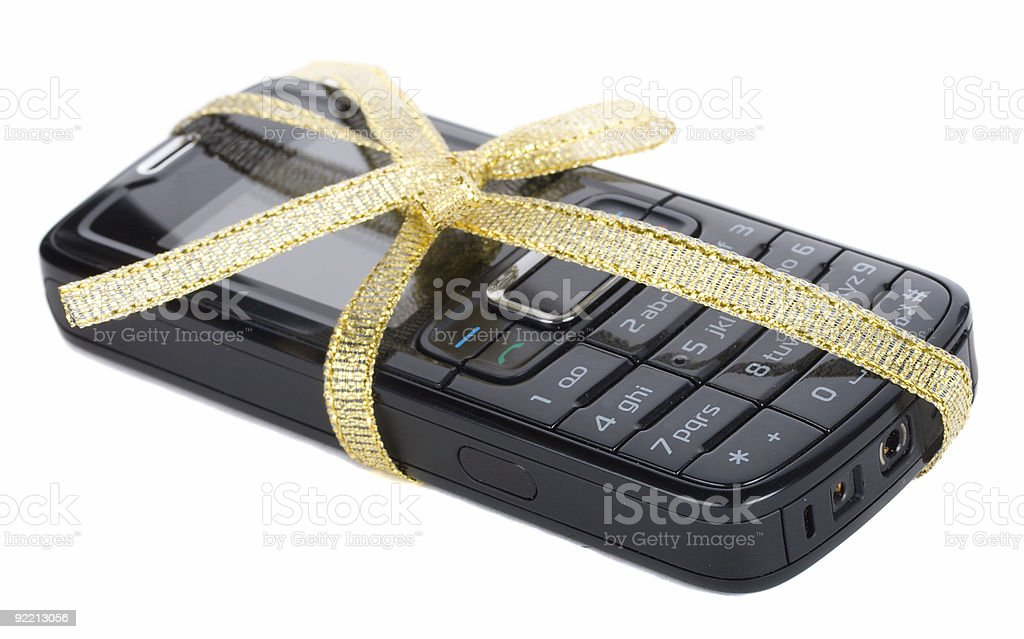 black mobile phone with gold ribbon royalty-free stock photo