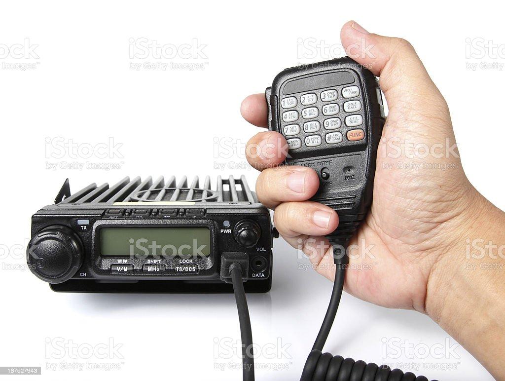 Black mobile radio transceiver stock photo