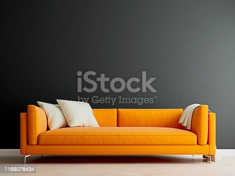 istock Black mock up wall with orange sofa in modern interior background, living room, Scandinavian style, 3D render, 3D illustration 1169078434
