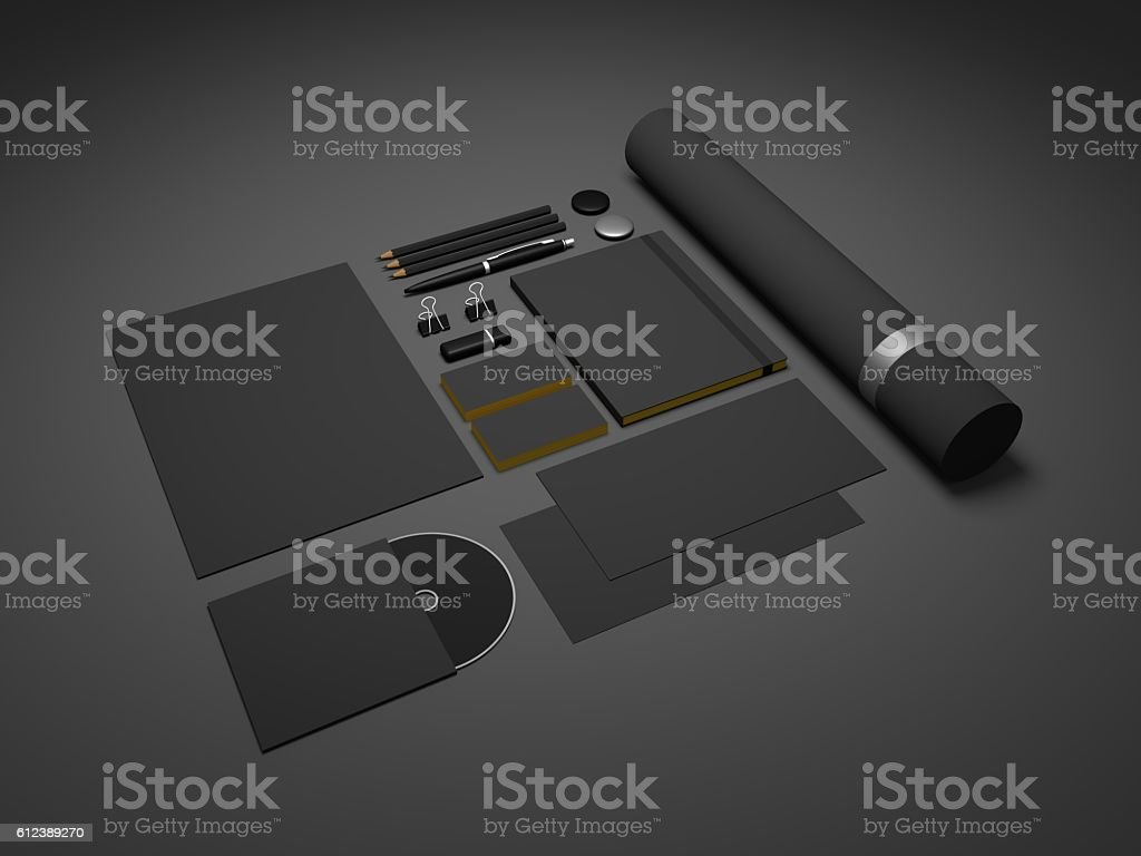 Black mock-up 3d illustration template for branding identity. stock photo