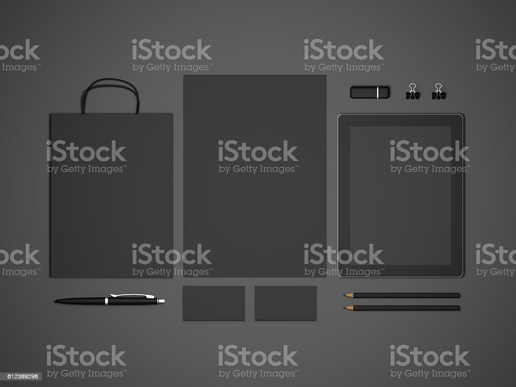 Black mock-up 3d illustration with tablet and shopping bag stock photo