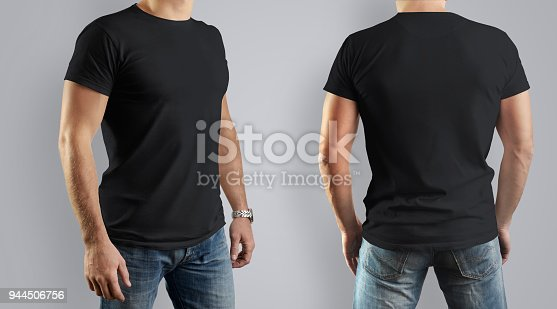 956902000 istock photo Black Mockup  for the design of clothes t-shirt. Young man, front view and back. 944506756