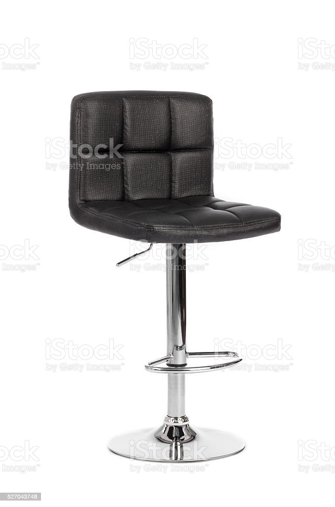 Black modern bar chair isolated on white background stock photo