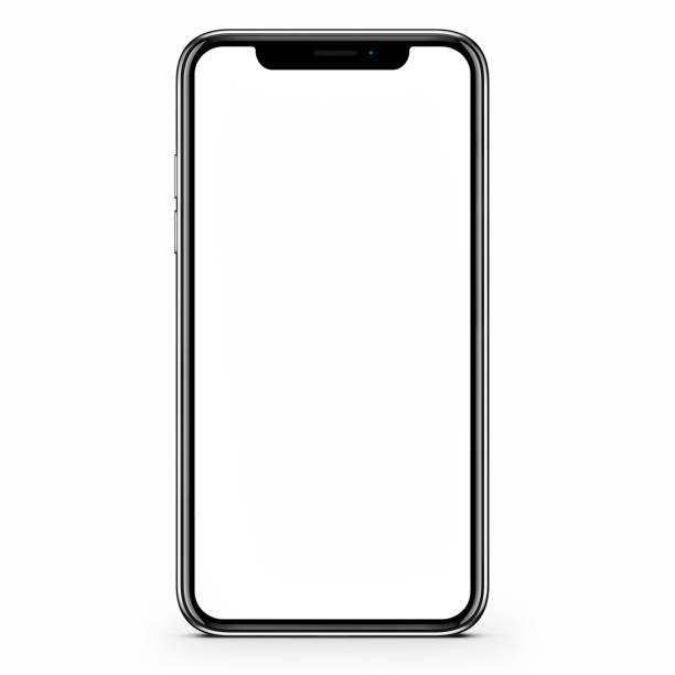 smartphone nero moderno senza cornice con schermo vuoto. illustrazione 3d - smart phone foto e immagini stock
