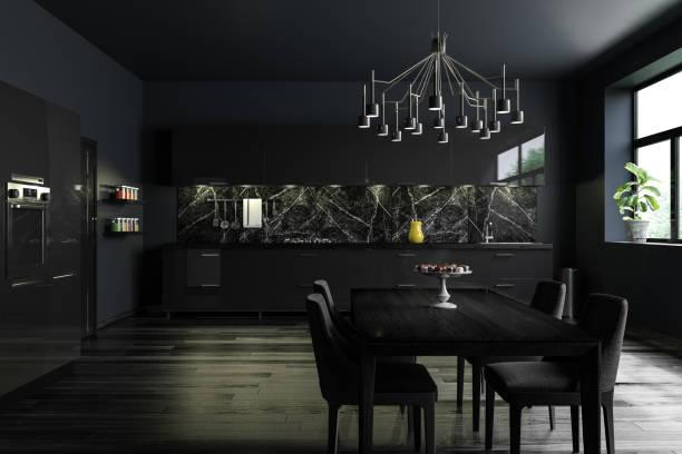 Black Modern Kitchen Interior stock photo