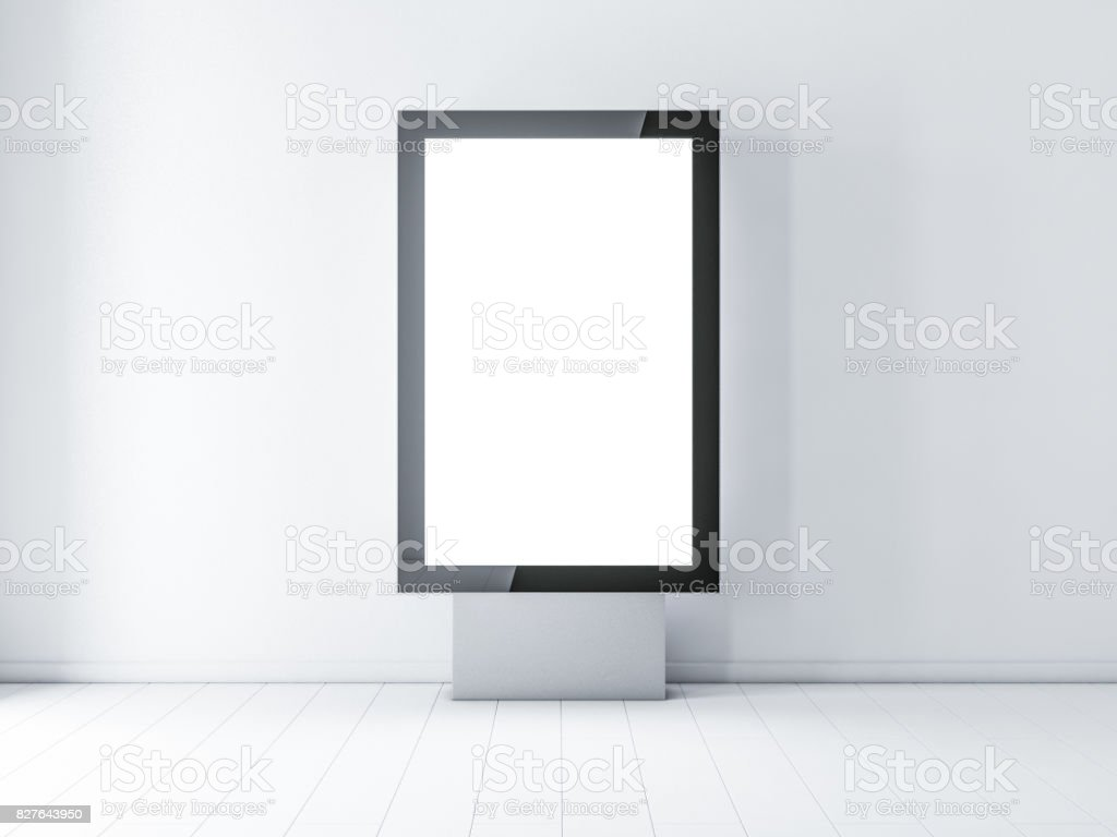 Black modern lightbox, advertising street stand stock photo