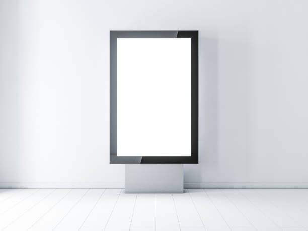 black modern lightbox, advertising street stand - ad template stock photos and pictures