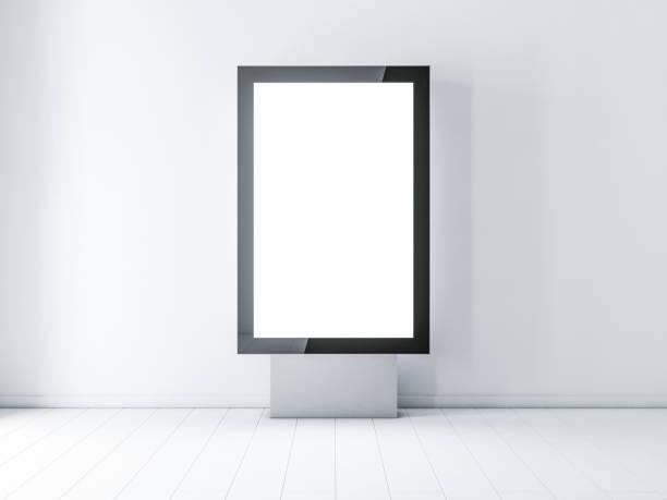 Black modern lightbox, advertising street stand stock photo