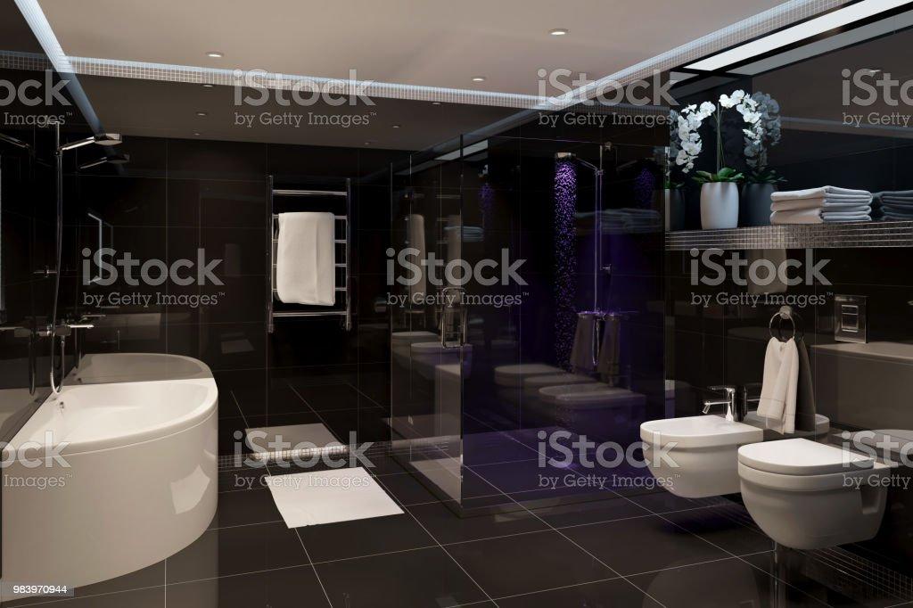 Cuarto De Baño Moderno Negro Foto de stock y más banco de imágenes de A la  moda
